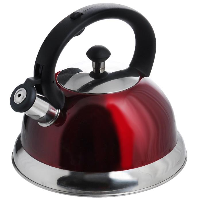 "Чайник ""Appetite"" со свистком, цвет: красный, 2,5 л. HSK-H063"