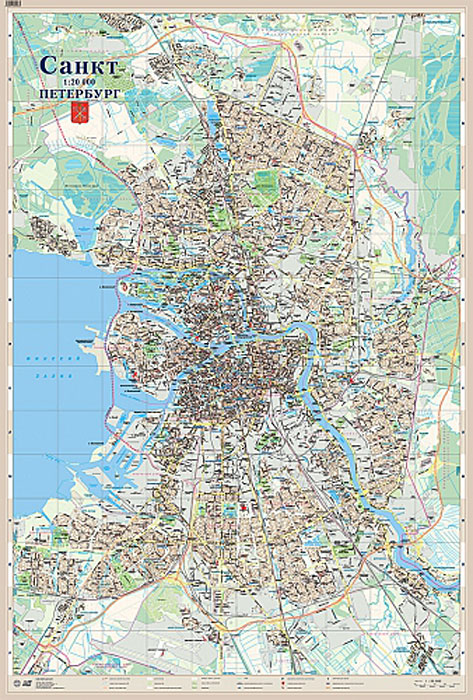 Санкт-Петербург. Настенная карта (ламинированная) центральный федеральный округ санкт петербург настенная карта