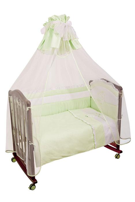 """Комплект в кроватку """"Пушистик"""", цвет: зеленый, 7 предметов"""