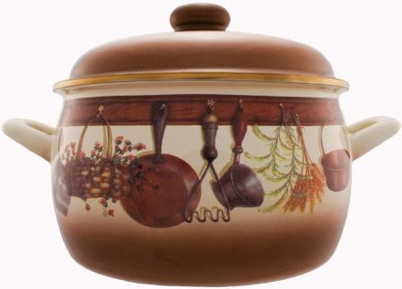 """Кастрюля эмалированная Metrot """"Кухня"""" с крышкой, цвет: коричневый, бежевый, 5,3 л"""