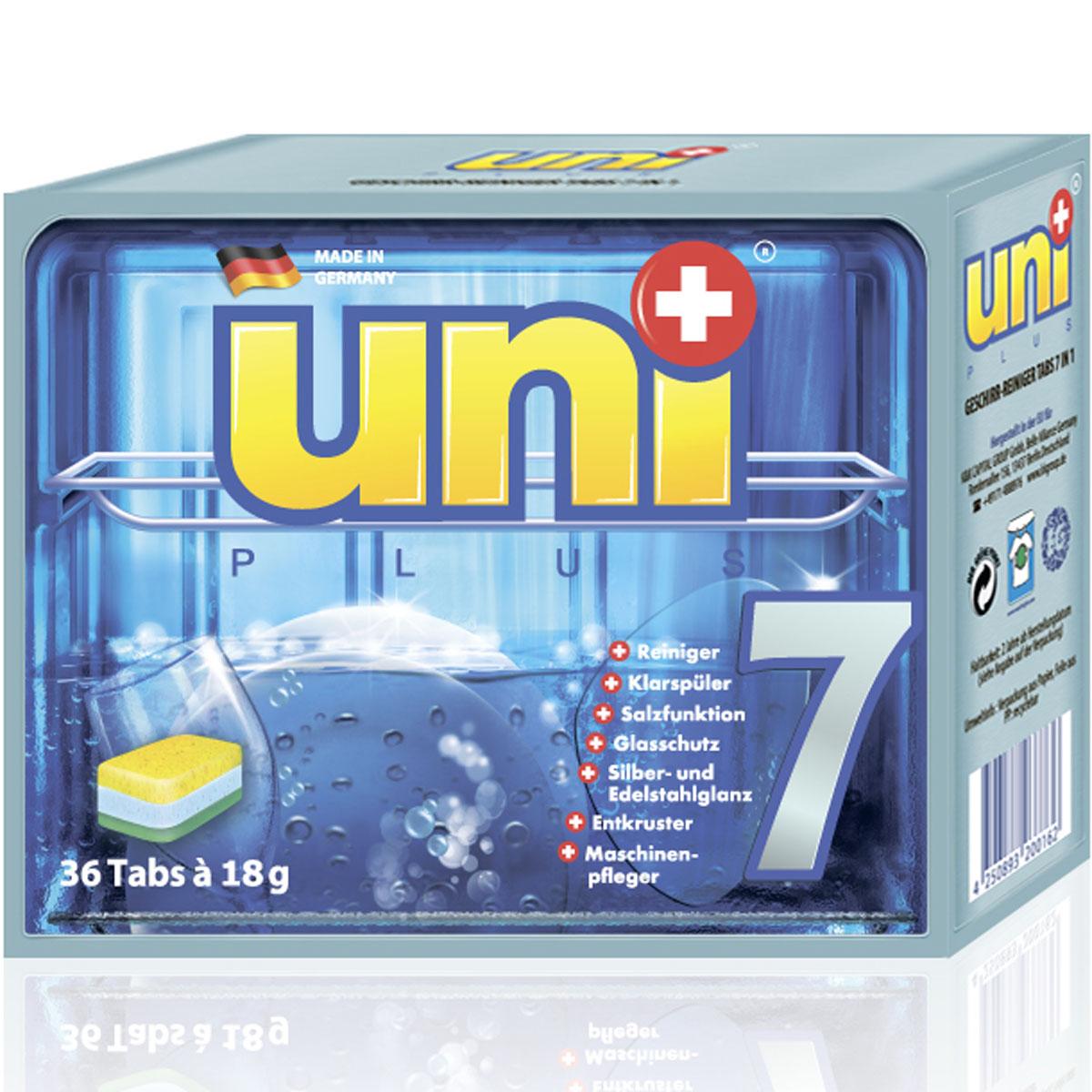 Таблетки для посудомоечных машин Uniplus 7 в 1, 36 х 18г таблетки для посудомоечных машин clean