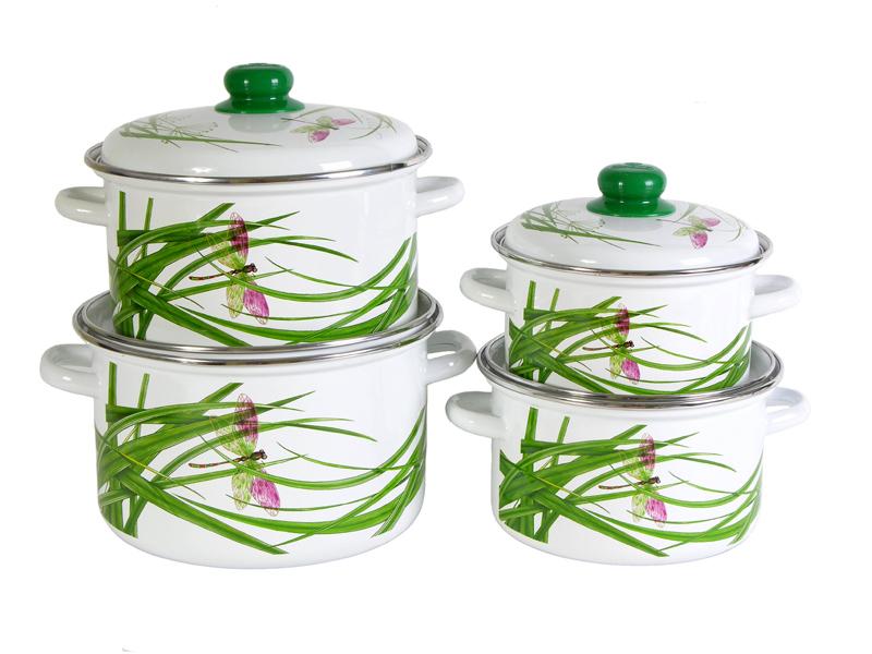 Набор кастрюль Стрекоза с крышками, цвет: белый, 4 шт набор форм для заливного home queen с крышками 3 шт