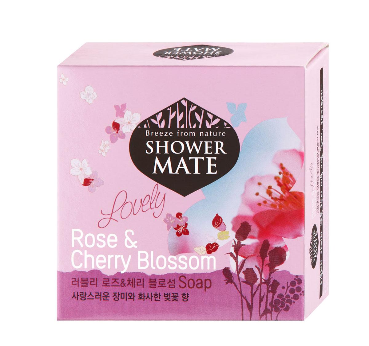 Shower Mate Мыло косметическое Роза и вишневый цвет, 100 г