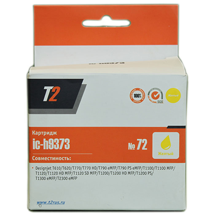 T2 IC-H9373 картридж для HP Designjet T610/T620/T770/T790/T1100/T1200/T1300/T2300 (№72), Yellow 6colors for hp t770 t790 t1120 t1200 t1300 t620 t610 t1100 t2300 compatible ink cartridge with one time use chip