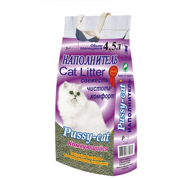 Наполнитель Pussy-cat для кошачьего туалета, комкующийся, 4,5 л pussy bow semi sheer blouse