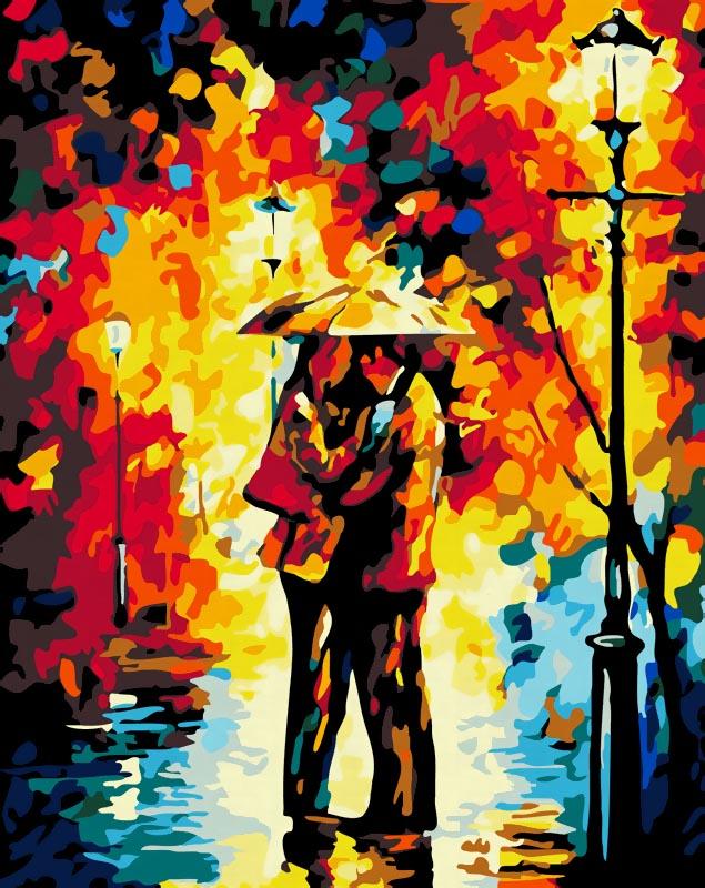"""Живопись на холсте """"Поцелуй под дождем"""", 40 см х 50 см"""