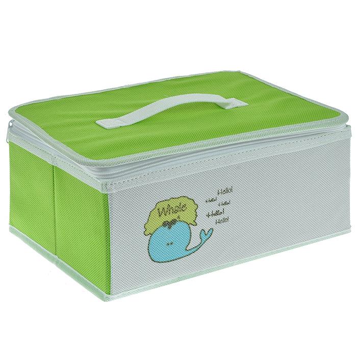 Коробка для хранения Hausmann Whale на молнии, цвет: салатовый, белый. BB211-3 цена