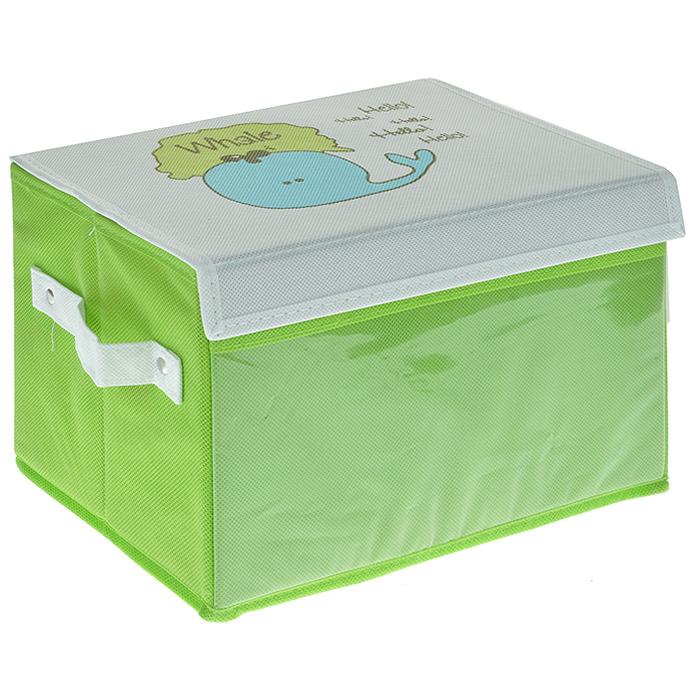 Коробка для хранения Hausmann Whale на липучках, цвет: салатовый, белый. 2H-S01G цена