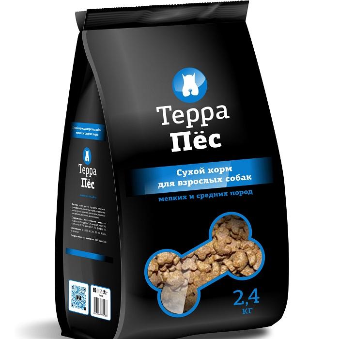 """Сухой корм """"Терра Пес"""" для взрослых собак мелких и средних пород, 2,4 кг"""