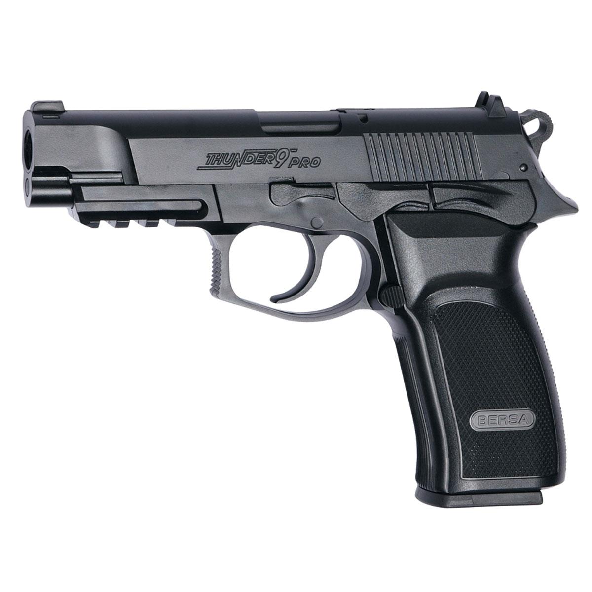 ASG Bersa Thunder 9 PRO пистолет пневматический CO2, 4,5 мм, цвет: Black (17302)17302Реплика пистолета Bersa Thunder 9 PRO. Это легчайший полноразмерный полуавтоматический пистолет с эргономичным дизайном, производимый по лицензии аргентинской компании Bersa. Стрельба самовзводом с высокой скоростью, планка Пикатинни под стволом для крепления фонаря или ЛЦУ. При выстреле производит звук, напоминающий хлопок при открывании бутылки шампанского. На громкий звук огнестрельного выстрела он не похож. Для пневматических пистолетов прицельная дальность, стандартно, составляет 15-20 метров. Опасной считается дальность до 300 метров. Версия не-блоубэк (при выстреле затвор остается неподвижным).Возврат товара возможен только при наличии заключения сервисного центра. Время работы сервисного центра: Пн-чт: 10.00-18.00 Пт: 10.00- 17.00 Сб, Вс: выходные дни Адрес: ООО ГАТО, 121471, г.Москва, ул. Петра Алексеева, д 12., тел. (495)232-4670, gato@gato.ru Рекомендуем!