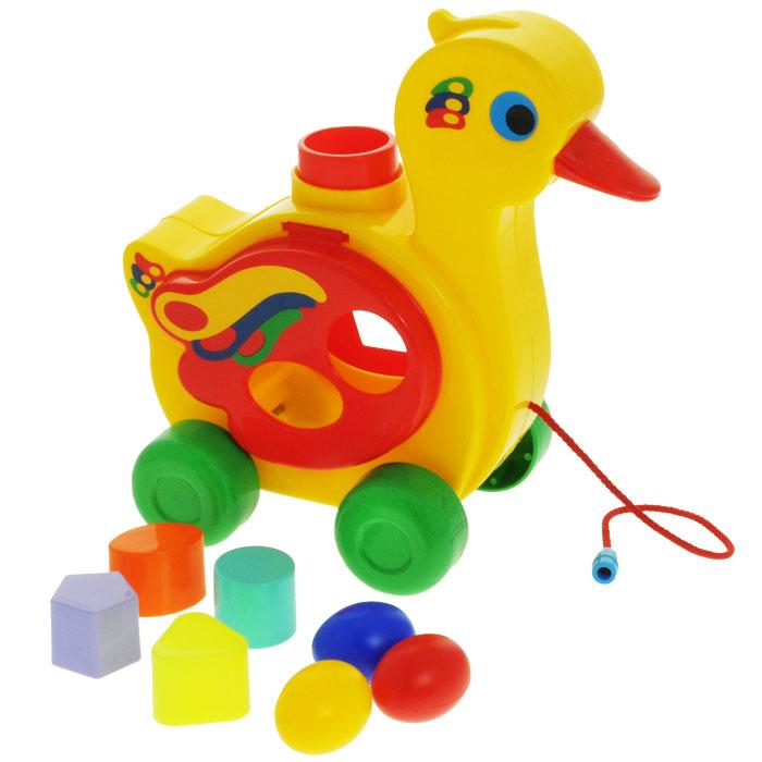 Игрушка-каталка Полесье Уточка-несушка, цвет: желтый, зеленый, красный каталка игрушка полесье биосфера бурундук 54449