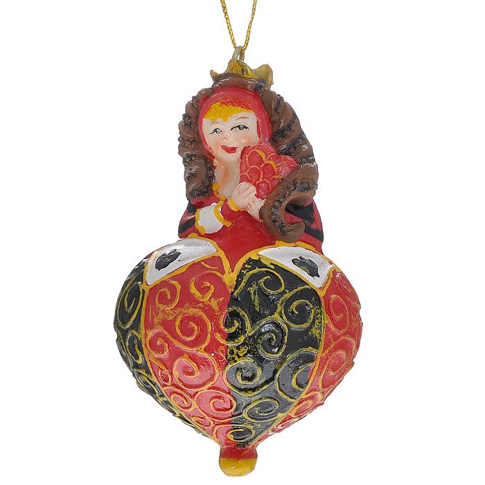 Новогоднее подвесное украшение Королева, цвет: красный, черный. 30476 украшение новогоднее подвесное феникс презент карабас барабас 3 5 x 3 5 x 8 5 см