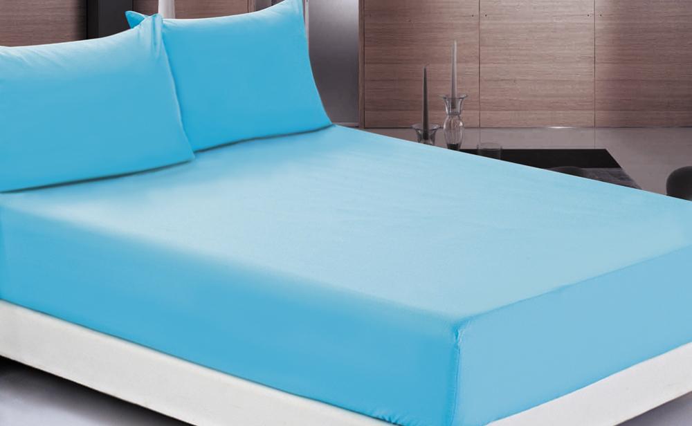 Простыня OL-Tex Джерси, на резинке, цвет: голубой, 200 х 200 х 20 см простыня на резинке эго цвет розовый 200 х 200 см