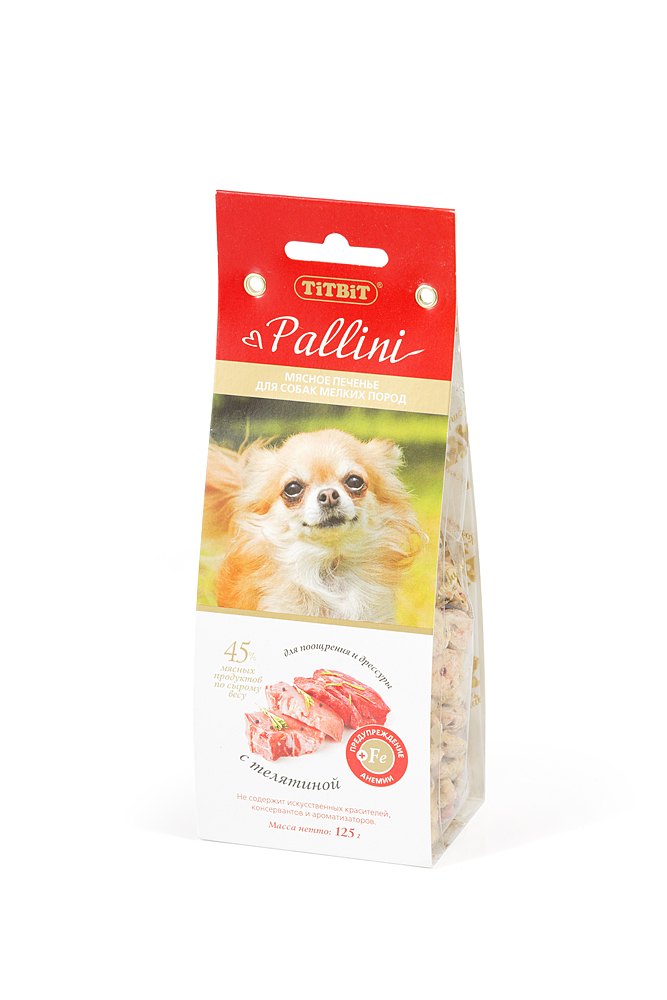"""Лакомство Titbit """"Pallini"""" для собак мелких пород, печенье с телятиной, 125 г"""