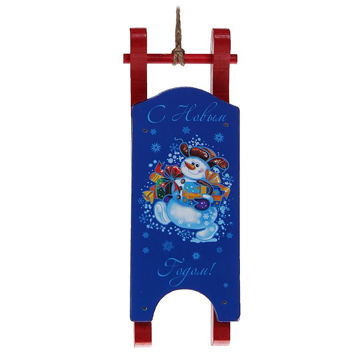 """Новогоднее подвесное украшение """"С Новым годом!"""", цвет: красный, синий. 32368"""