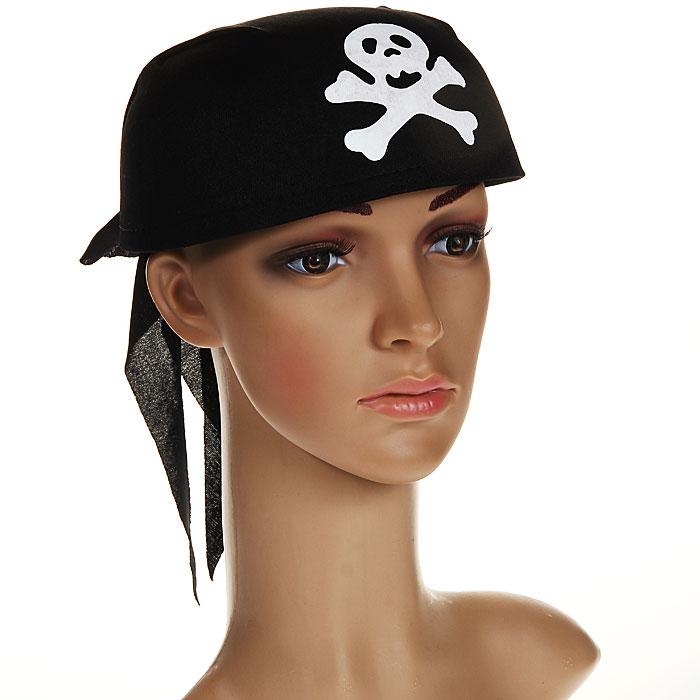 """Маскарадная бандана """"Пират"""", цвет: черный, белый. 31316"""