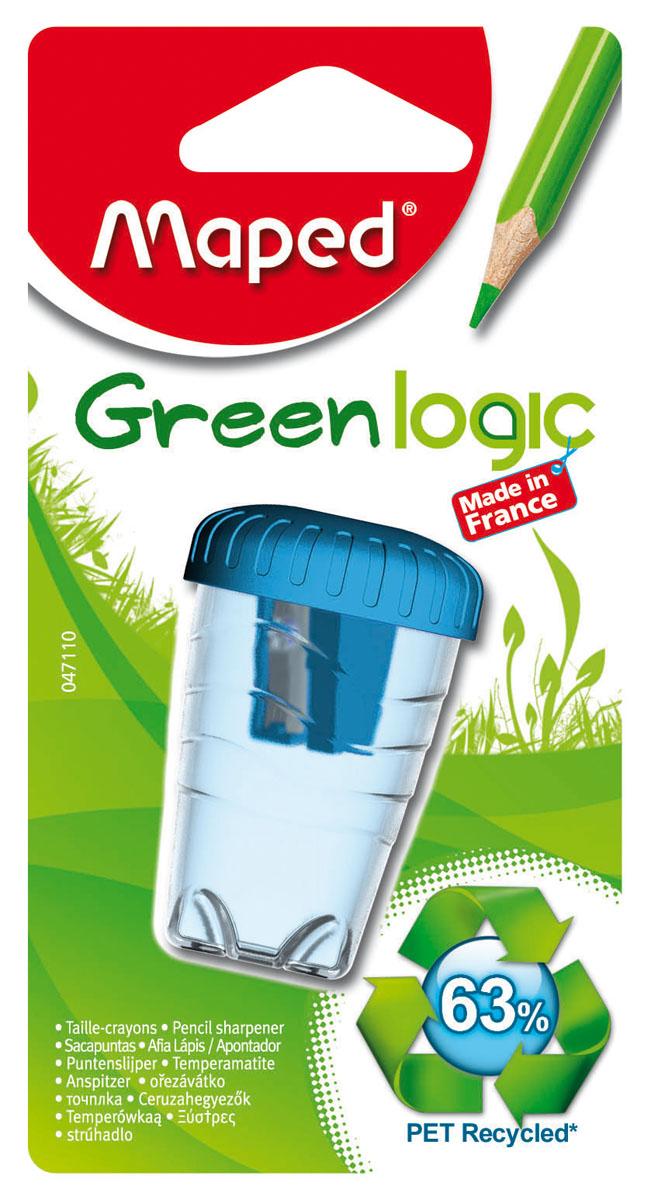 Точилка пластиковая Maped Green Logic, с контейнером, цвет: голубой точилка пластмассовая тройная эргономичный дизайн блистерная упаковка 0969 0002