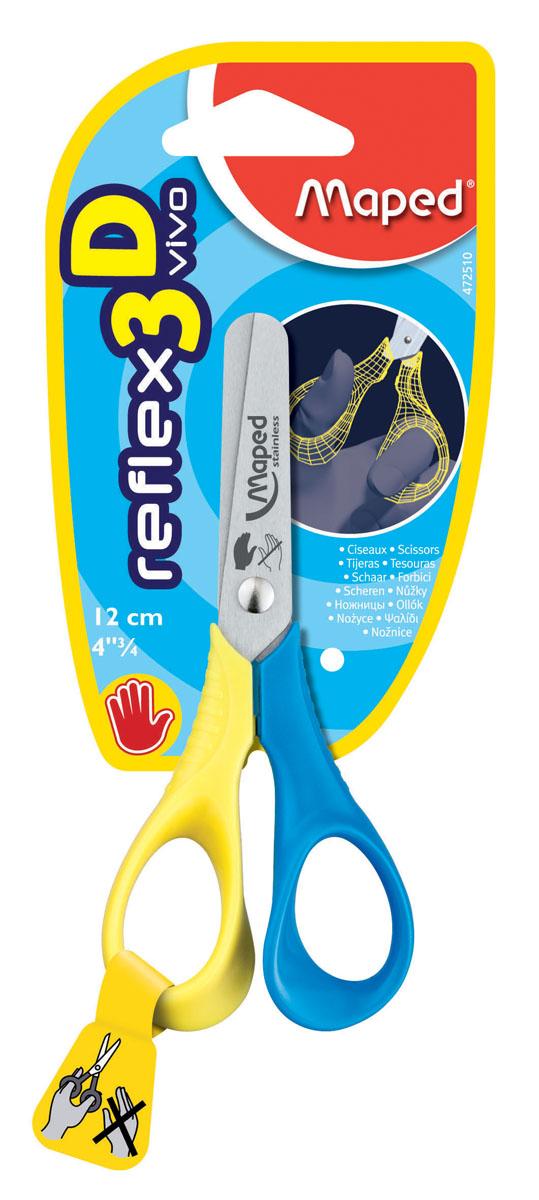 Ножницы Maped Vivo, для левшей, 12 см, цвет: желтый, синий ножницы kai n5210 l закроечные для левшей 210 мм