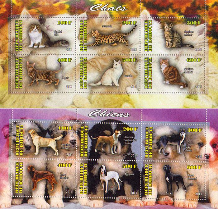 Комплект из 2 малых листов Кошки, собаки. Джибути, 2013 год комплект из трех почтовых блоков рептилии джибути руанда малави 2013 год