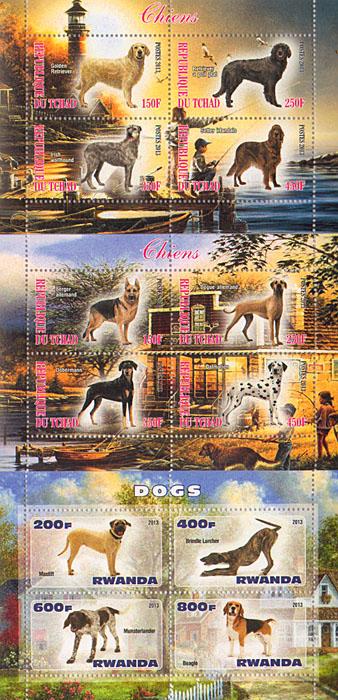 Комплект из 3 малых листов Собаки. Чад, Руанда, 2013 год комплект из трех почтовых блоков рептилии джибути руанда малави 2013 год