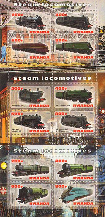 Комплект из 3 малых листов Поезда. Руанда, 2013 год комплект из трех почтовых блоков рептилии джибути руанда малави 2013 год
