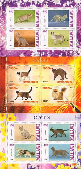 Комплект из 3 малых листов Кошки. Малави, Руанда, 2013 год комплект из трех почтовых блоков рептилии джибути руанда малави 2013 год