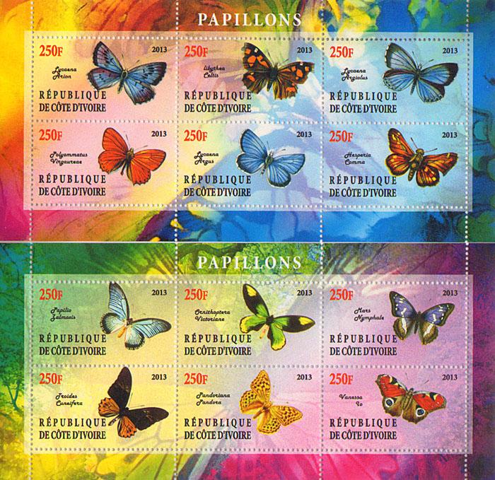 Комплект из 2 малых листов Бабочки. Республика Кот-д'Ивуар, 2013 год блок марок бабочки кот д ивуар 2013