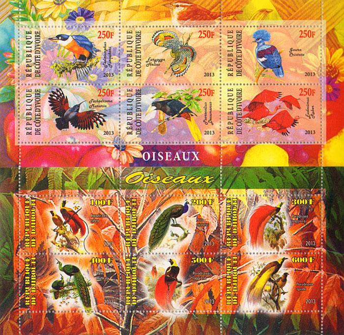 Комплект из 2 малых листов Птицы. Республика Кот-д'Ивуар, Джибути, 2013 год комплект из трех почтовых блоков рептилии джибути руанда малави 2013 год