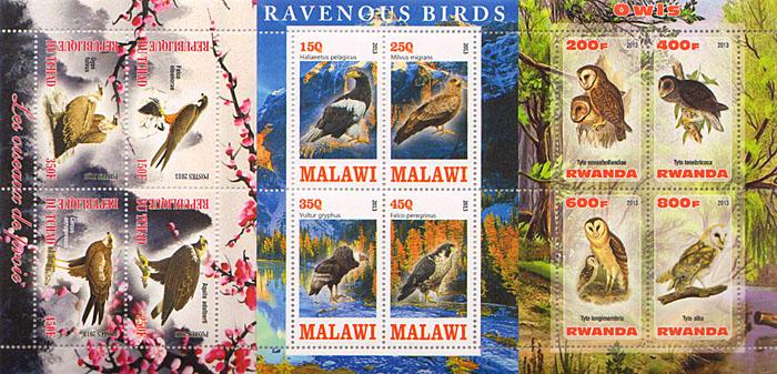 Комплект из 3 малых листов Птицы. Чад, Малави, Руанда, 2013 год комплект из трех почтовых блоков рептилии джибути руанда малави 2013 год