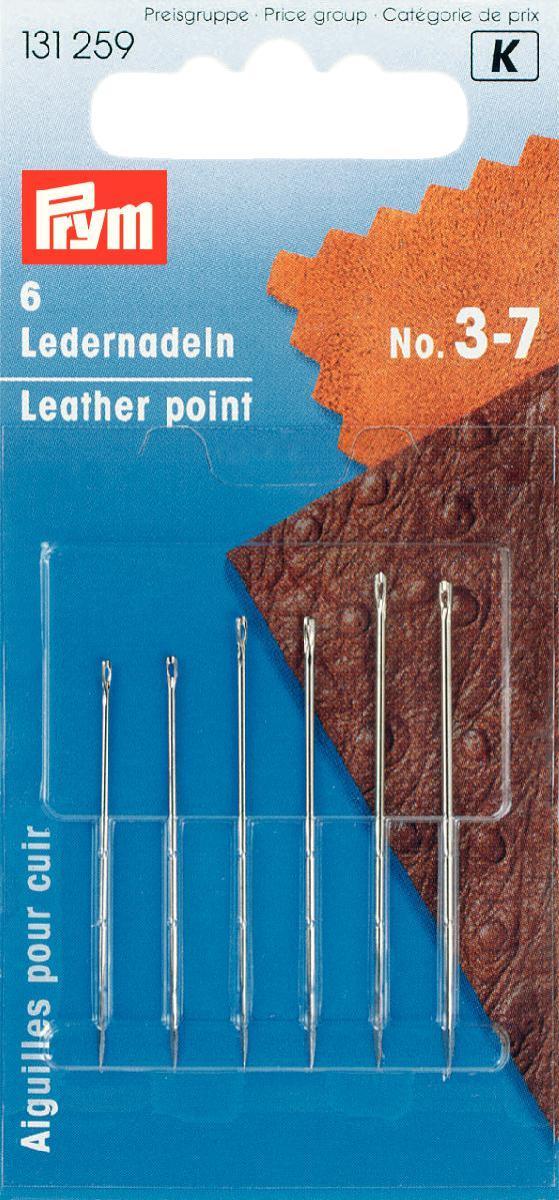 Набор игл ручных Prym, для кожи, с трехсторонним острием, №3-7, 6 шт набор игл ручных prym для шитья 1 5 16 шт