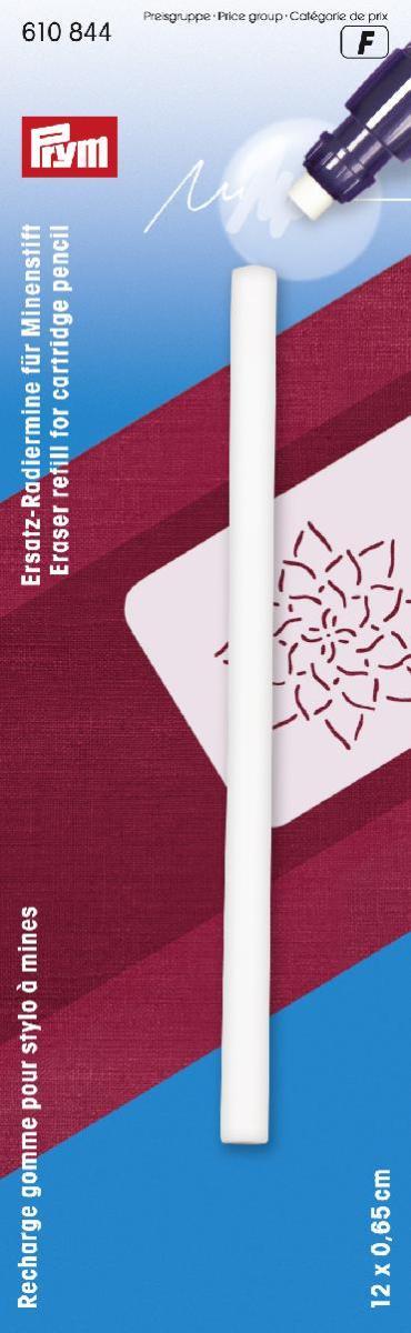 Запасной ластик для механического карандаша Prym610844Запасной ластик для механического карандаша Prym cостоит из трех запасных делимых ластиков по 4 см каждый. Предназначен для швейных работ. Характеристики: Материал: пластик. Цвет: белый. Размер: 0,65 см х 0,65 см х 12 см. Размер упаковки: 18,5 см х 5,5 см х 1,5 см. Артикул: 610844. Рекомендуем!