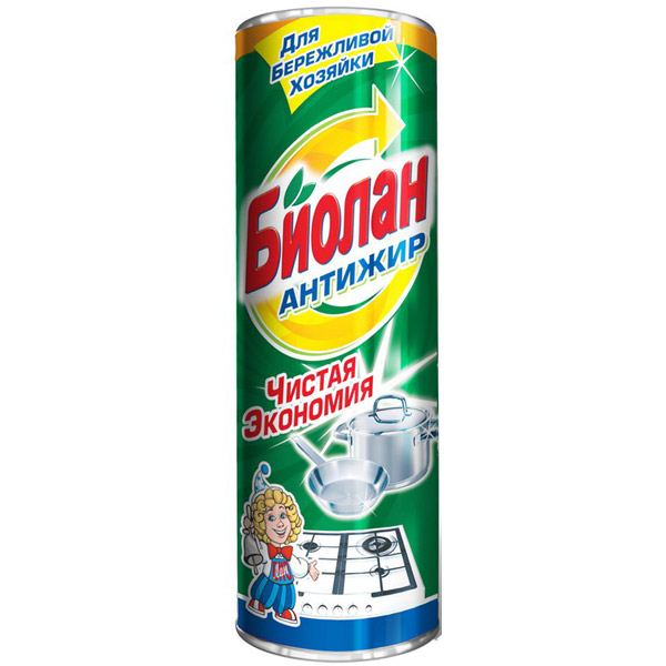 Чистящее средство Биолан Антижир, порошкообразное, 400 г средство для мытья кухонных поверхностей clean home антижир концентрат 200 мл