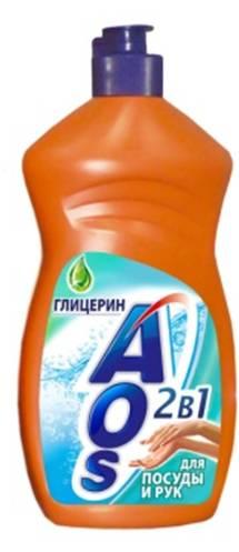 Жидкость для мытья посуды AOS Глицерин, 500 мл средство для мытья посуды aos 450 мл бальзам 2в1 в ассорт