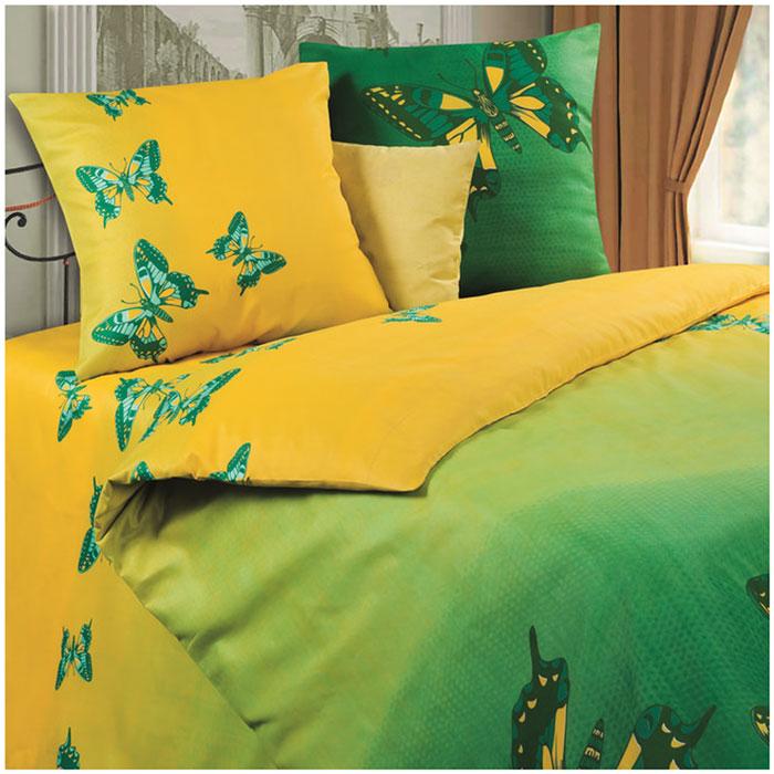 """Комплект белья Diana P&W """"Мгновение"""", 2-спальный, наволочки 70х70, цвет: зеленый, салатовый, желтый"""