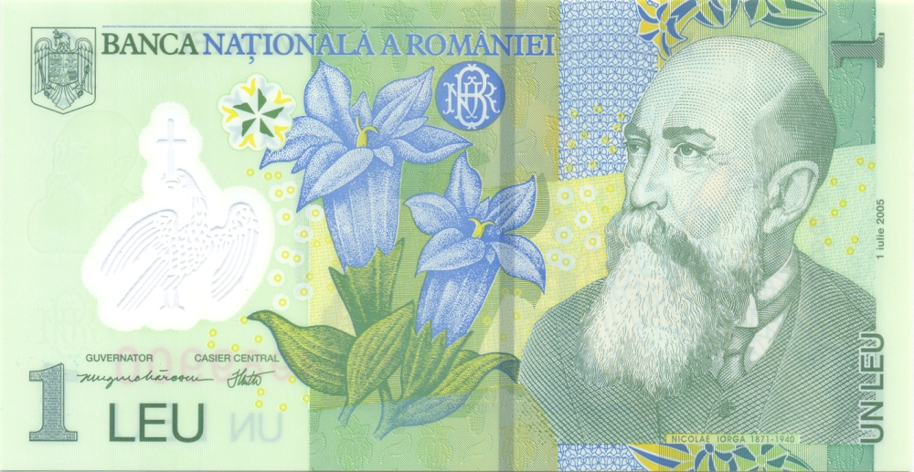 Банкнота номиналом 1 лей. Полимер. Румыния, 2005 год цены онлайн
