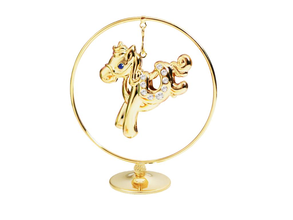 Фигурка декоративная Crystocraft Лошадка, цвет: золотистый. U0401-105-GC1 фигурки crystocraft фигурка лягушка с короной