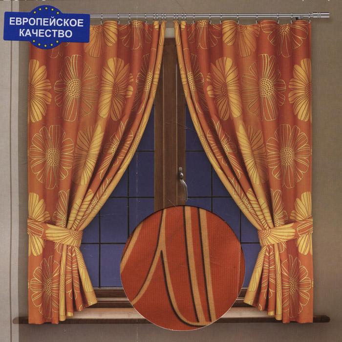 Комплект штор для кухни Haft, на ленте, цвет: оранжевый, высота 170 см. 201492/170 цена