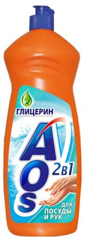 Жидкость для мытья посуды AOS Глицерин, 900 мл средство для мытья посуды aos 450 мл бальзам 2в1 в ассорт