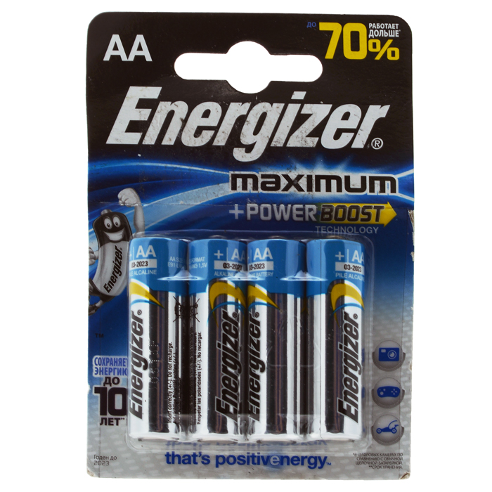 цена на Батарейка алкалиновая Energizer Maximum, тип АА, 4 шт