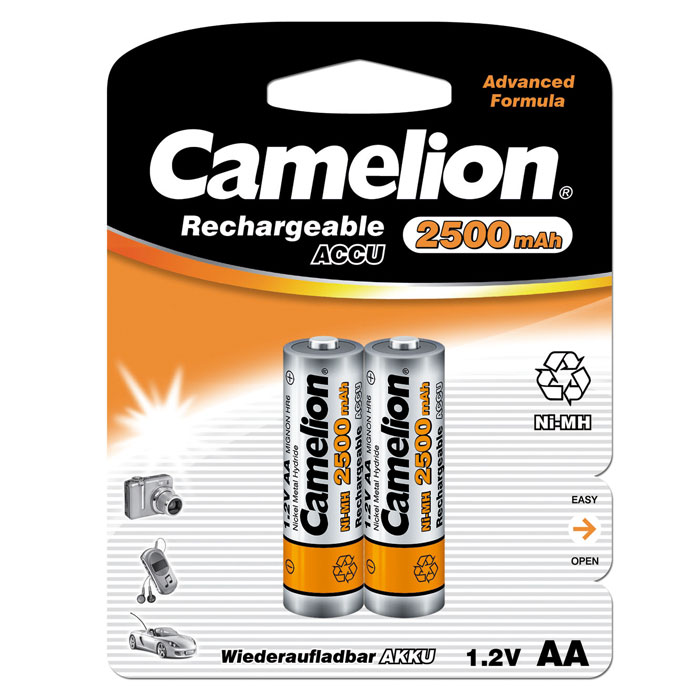 Camelion AA-2500mAh Ni-Mh BL-2 (NH-AA2500BP2) аккумулятор, 1.2В (2 шт) tangsfire bt c2000 12v 1a 4 slot ni mh ni cd aa aaa battery power charger black