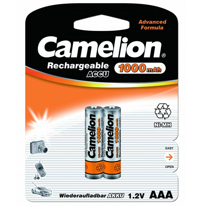 Camelion AAA-1000mAh Ni-Mh BL-2 (NH-AAA1000BP2) аккумулятор, 1.2В, 2 шт tangsfire bt c2000 12v 1a 4 slot ni mh ni cd aa aaa battery power charger black