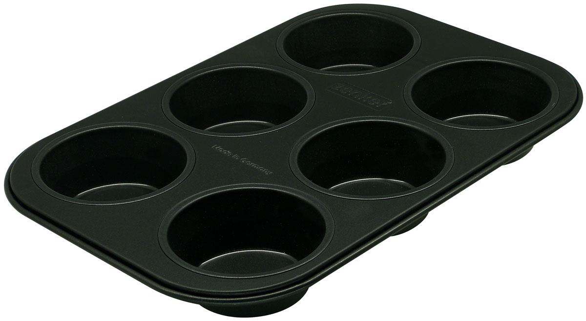 Форма для выпечки кексов Zenker Black, цвет: черный, 6 ячеек, 28 х 19 см форма для выпечки bekker бабочки силиконовая цвет синий 6 ячеек