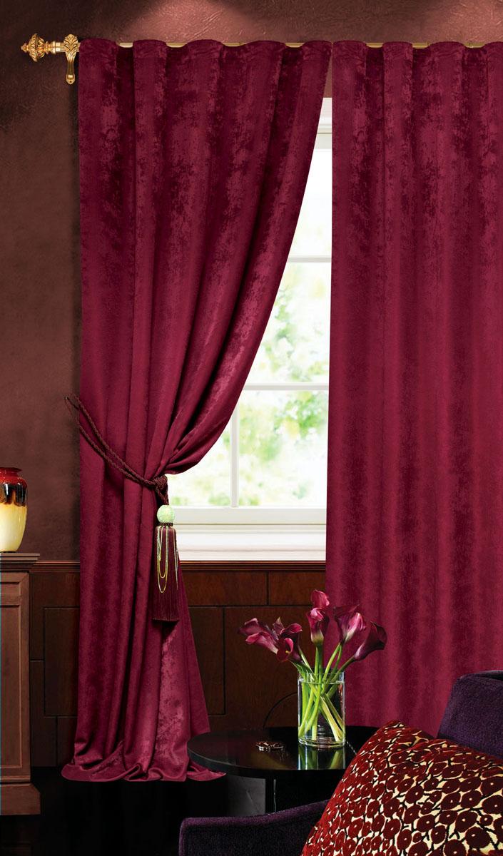 Штора готовая для гостиной Garden, на ленте, цвет: бордовый, размер 140 х 260 см. С 535123 V2277 штора готовая 190х175 garden