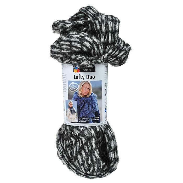 """Пряжа для вязания """"Lofty Duo"""", цвет: черный, белый (00080), 10 м, 100 г"""
