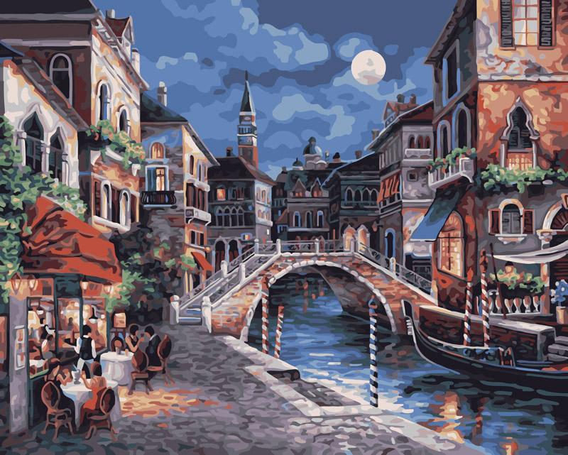 Живопись на холсте Ночная Венеция, 40 х 50 см живопись на холсте белоснежка венеция канал сан джованни латерано 40 х 50 см