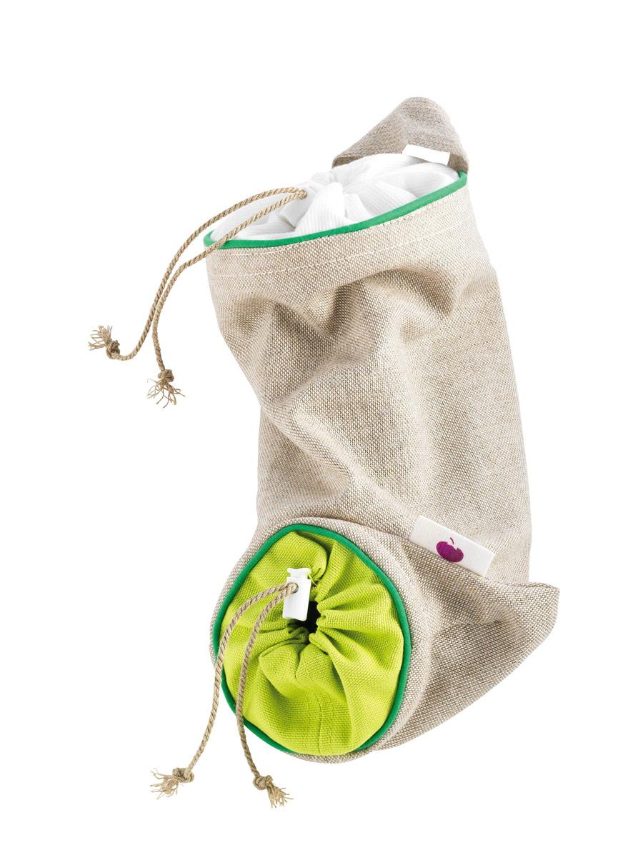"""Мешочек для хранения чеснока """"Mastrad"""", 0,9 кг, цвет: серый, зеленый"""