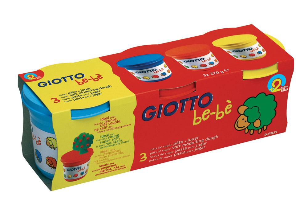 """Масса для моделирования Giotto """"Be-be"""", цвет: белый, голубой, красный, желтый, 3 шт х 220 г"""
