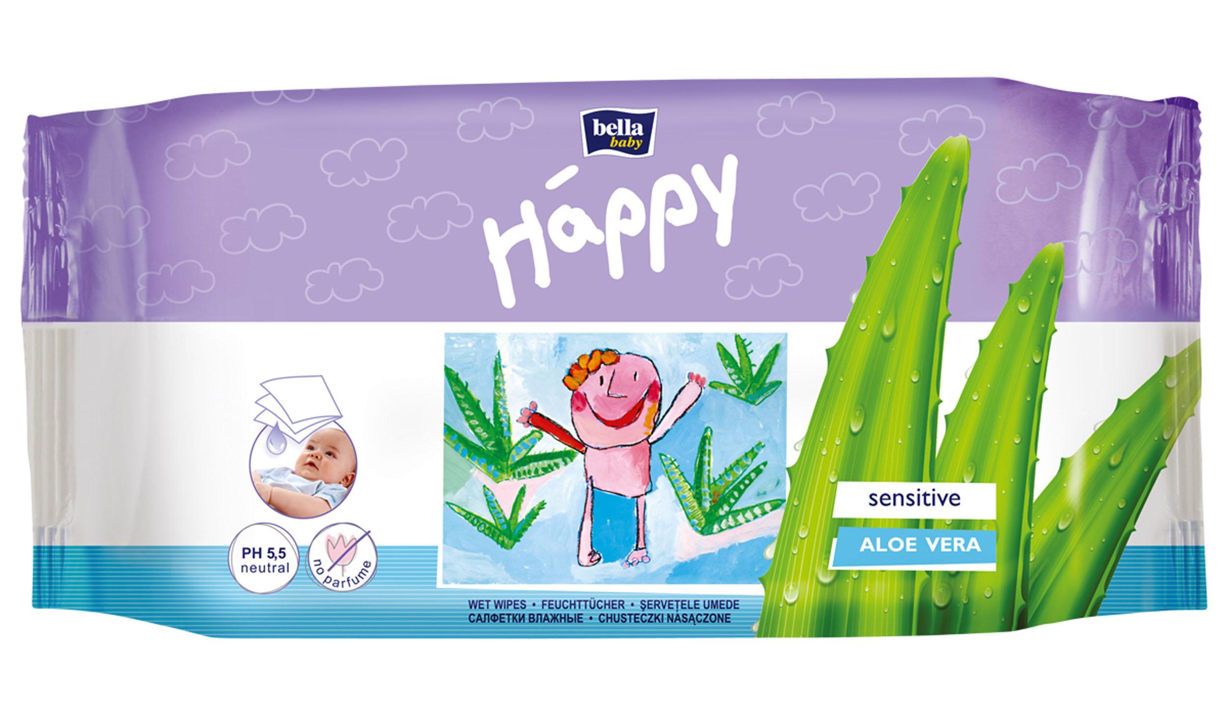 Bella Влажные салфетки Baby Happy Алое Вера, 56 шт салфетки violeta салфетки влажные с экстрактом миндального молочка 56 шт