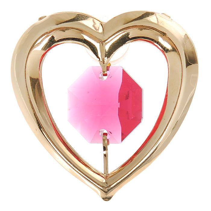 купить Фигурка декоративная Сердце, на присоске, цвет: золотистый, розовый. 67078 дешево