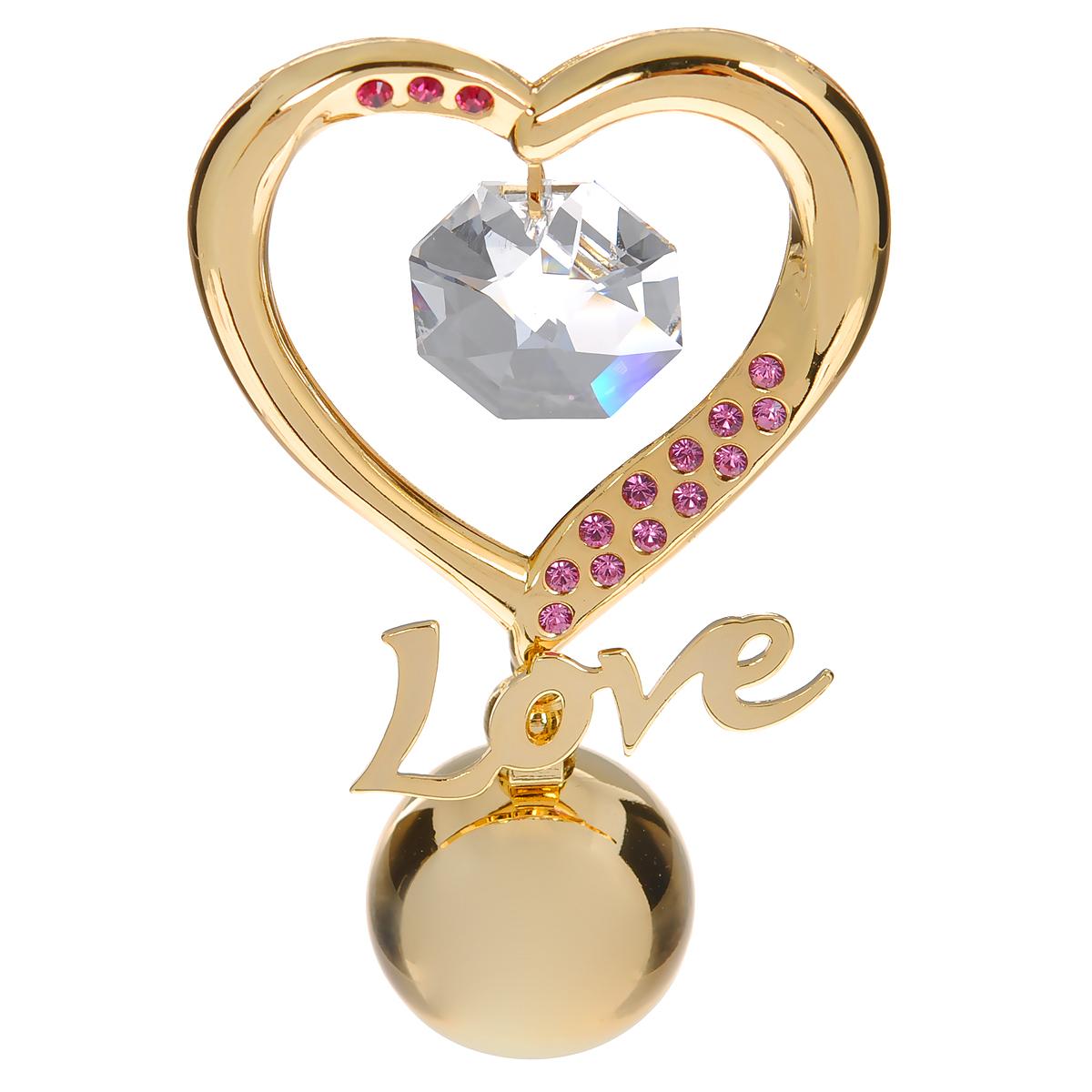 купить Фигурка декоративная Сердце, цвет: золотистый, розовый. 67191 дешево